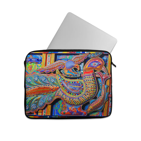 Truck art peacock floral art Laptop sleeve