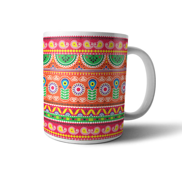 Truck art folk art pattern mug