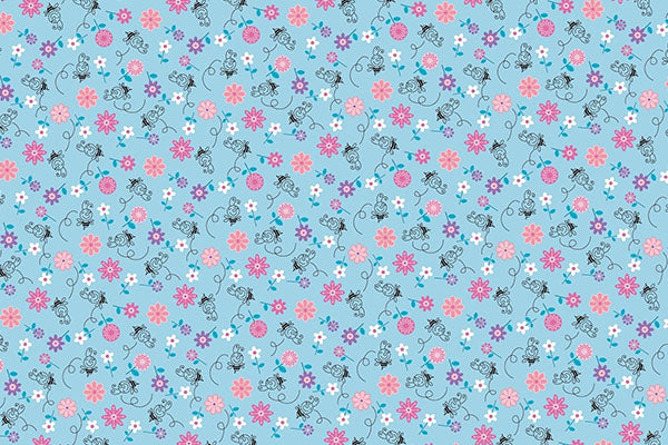 Blue with flowers pattern