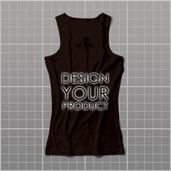 Cotton Graphic Printed Tank Top Women - Brown / S - zakeke-design