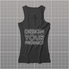 Cotton Graphic Printed Tank Top Women - Charcoal / S - zakeke-design