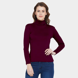High Neck Cotton Plum