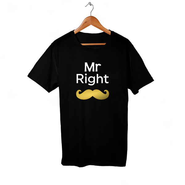 Mr Right shirt with Gold Metallic Mustache