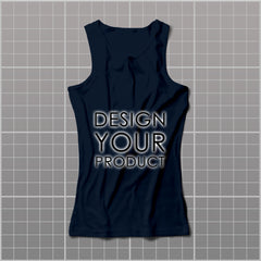 Cotton Graphic Printed Tank Top Women - Navy / S - zakeke-design
