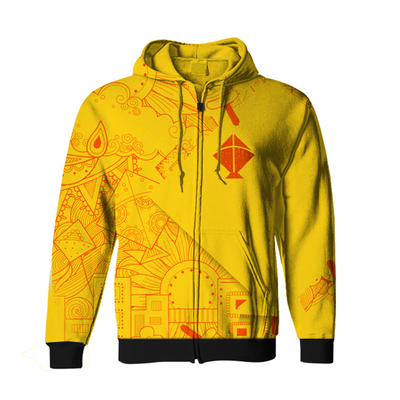 Basant Festival All Over Yellow Hoodie