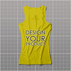Cotton Graphic Printed Tank Top Women - Yellow / S - zakeke-design