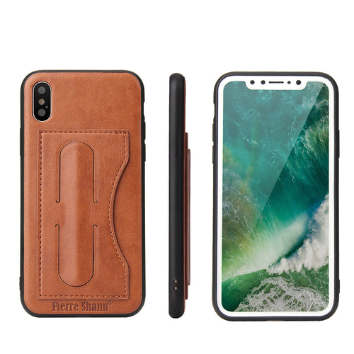 iPhone X Leather Card Wallet Kickstand Case - Aces Wireless