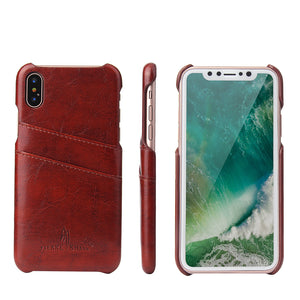 iPhone X Premium Leather Card Wallet - Aces Wireless