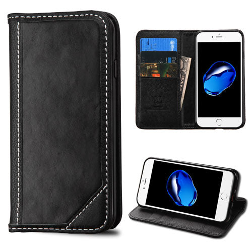 Top iPhone 8 / 7 Genuine Leather Wallet Case - Aces Wireless