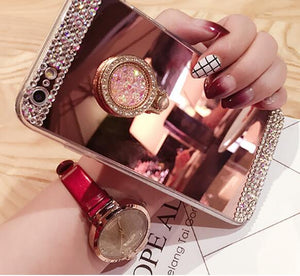 Luxurious Diamond Glitter Mirror Ring Stand Case For Galaxy S9 - Aces Wireless