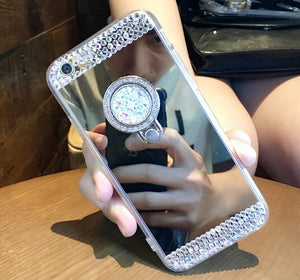 Diamond Glitter Mirror Ring Case For Galaxy S9, S9 Plus, Note 9, iPhone 7, 7 Plus, X - Aces Wireless