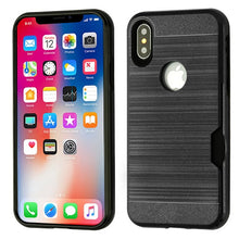 iPhone X Hybrid Protector Brushed Shock Absorbent Wallet Case - Aces Wireless