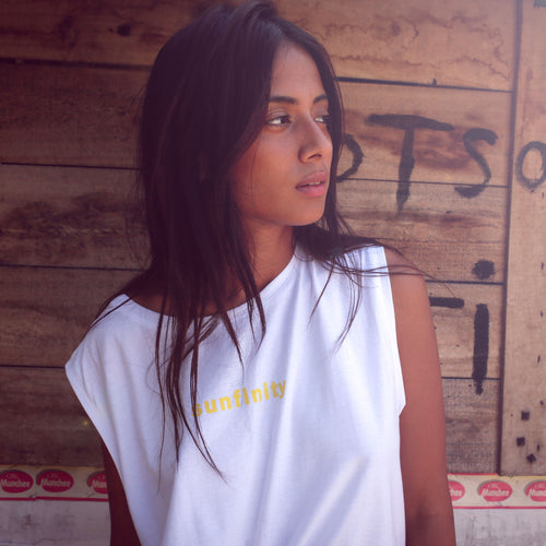 white cotton top with yellow print