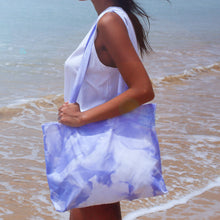 cotton beach bag tiedye blue coloring