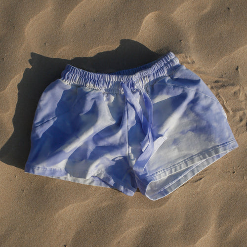 blue cotton beach shorts