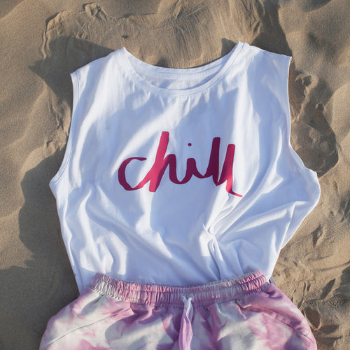 beach white cotton sleeveless top chill print