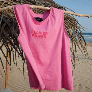 beach cotton top with flower power print