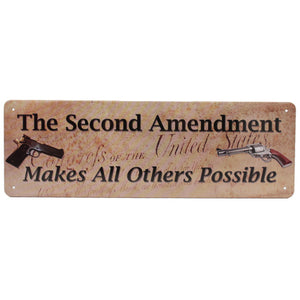 "Rivers Edge Products Tin Sign Second Amendment, Size 10 1/2"" x 3 1/2"""