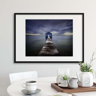 The Blue Boatshed by Leah Kennedy Framed Print - Ustad Home