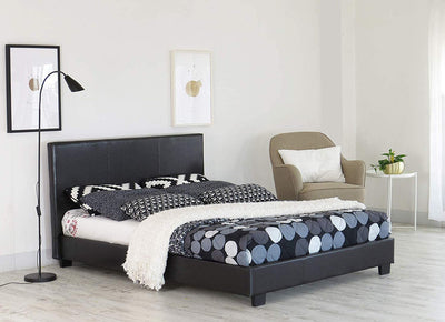Bed Frame With Faux Leather - Ustad Home