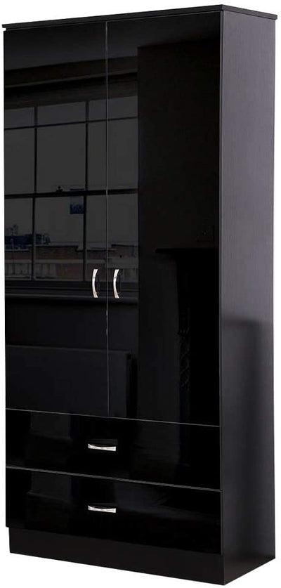 Chilton Black High Gloss 2 Door 2 Drawer Combination Wardrobe - Ustad Home