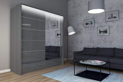 Mirror Sliding Doors Wardrobe with Long LED Light - Ustad Home