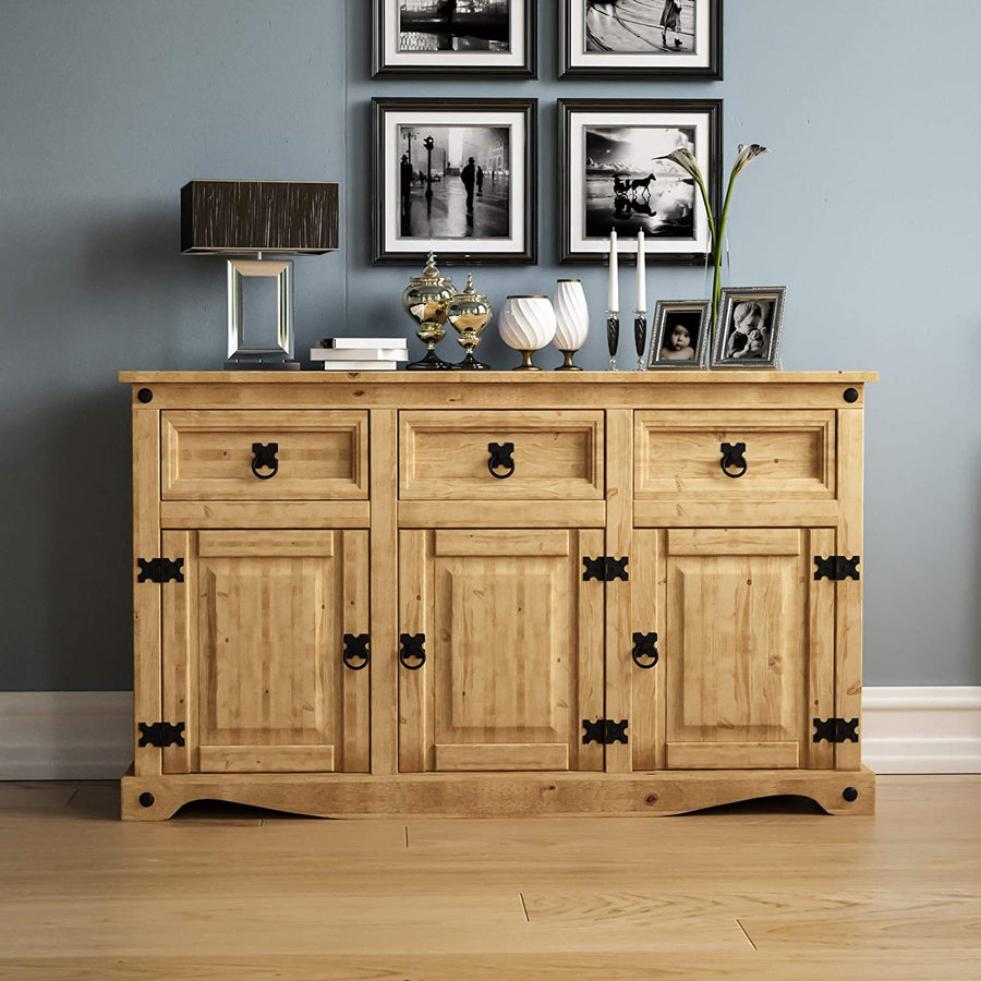 Corona Sideboard 3 Door 3 Drawer Solid Pine Wood - Ustad Home