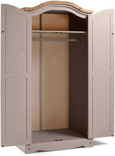 Corona Grey Wax 2 Door Arch Top Wardrobe - Ustad Home