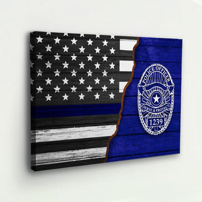PERSONALIZED POLICE OFFICER WALL ART CANVAS