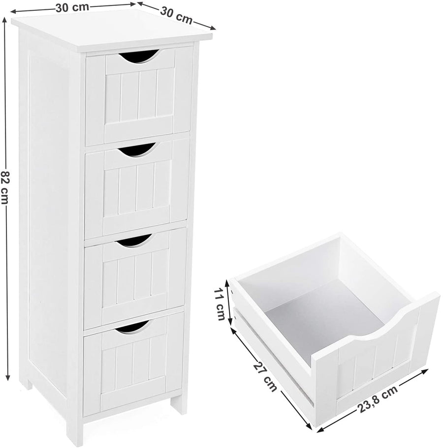 Bathroom Floor Slim Wooden Storage Unit with 4 Drawers - Ustad Home