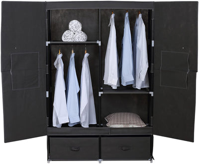 Stylish Canvas Wardrobe with Hanging Rail - Ustad Home