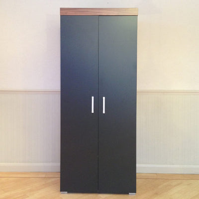 Double Wardrobe 2 Door in Black and Walnut - Ustad Home