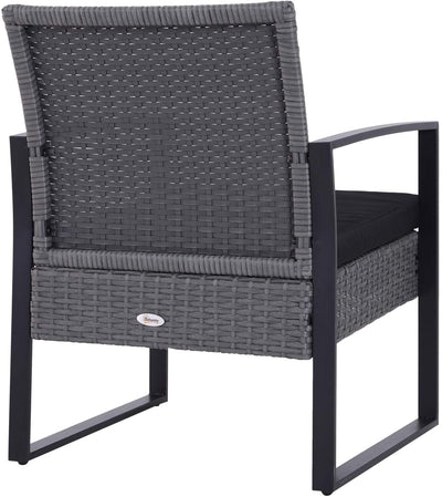 Rattan Coffee Table Chair 3PCs Set - Ustad Home