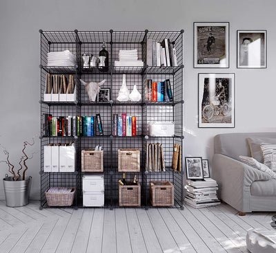 Metal Wire Storage Cube Wardrobe Shelves with 2 Rail - Ustad Home