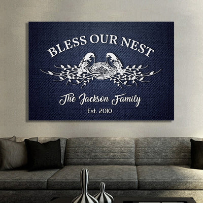 "Elegant ""BLESS OUR NEST"" Canvas - Ustad Home"