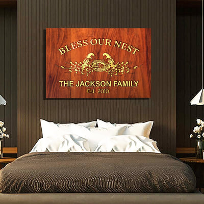 "Delightful ""BLESS OUR NEST"" Canvas"