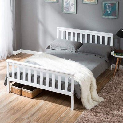 Double Bed Wooden Frame White Solid Pine - Ustad Home