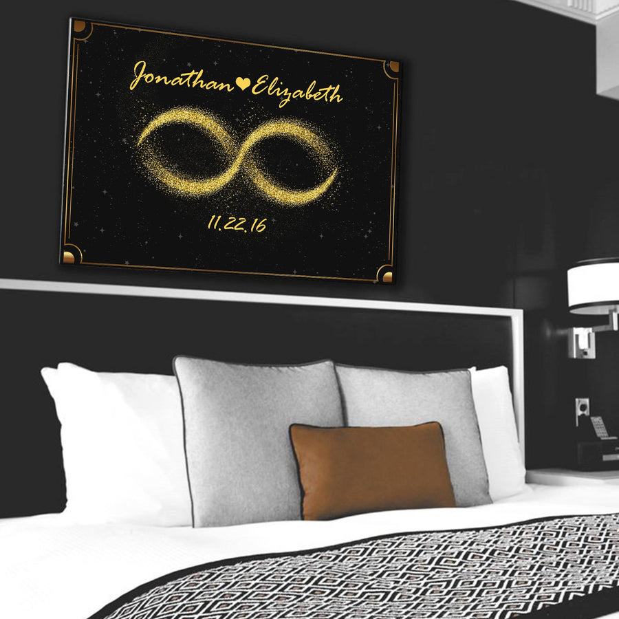 "Luxurious ""LOVE INFINITY GOLDEN WALL ART"" Personal Canvas - Ustad Home"