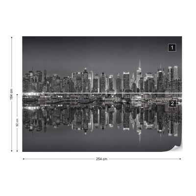 New York Reflections in Black and White Wallpaper - Ustad Home
