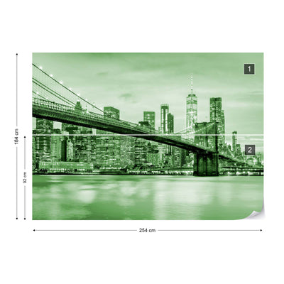 Brooklyn Bridge NYC in Green Wallpaper - Ustad Home