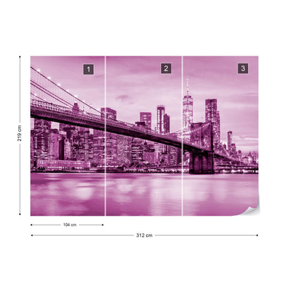 Brooklyn Bridge NYC in Pink Wallpaper - Ustad Home