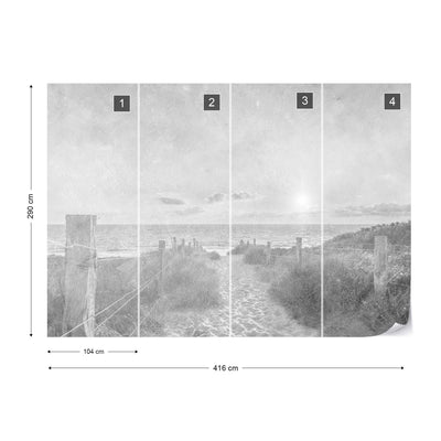Summer Sunset Faded Vintage Black and White Wallpaper - Ustad Home
