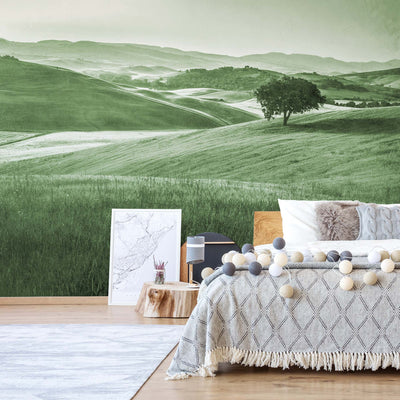 Rolling Hills Faded Vintage in Green Wallpaper - Ustad Home