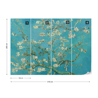 Van Gogh Blossoms in Turquoise Wallpaper - Ustad Home