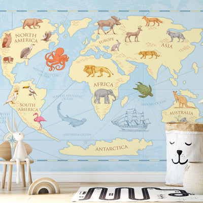 Kids Classic World Map Wallpaper - Ustad Home
