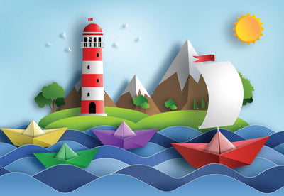 Sail Away Papercut Series Wallpaper - Ustad Home