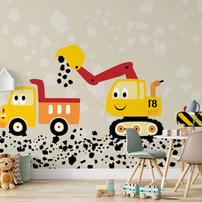 Working Hard with Lorry and Digger Wallpaper - Ustad Home