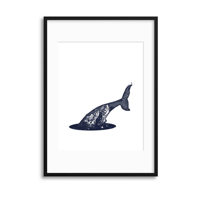 Cosmic Whale Dive Framed Print - Ustad Home