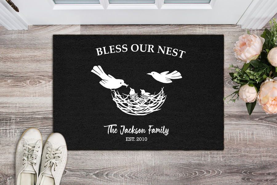 "Premium ""BLESS OUR NEST"" Personalized Doormat - Ustad Home"