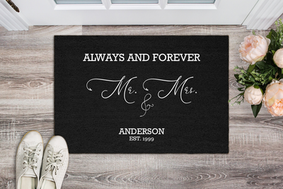 "Elegant ""Always & Forever"" Personalized Doormat"